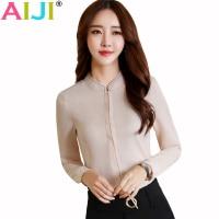 Lato eleganckich kobiet z długim rękawem koszula OL biuro biznes kariera stanąć kołnierz szyfonowa bluzka bluzki damskie plus rozmiar odzieży roboczej