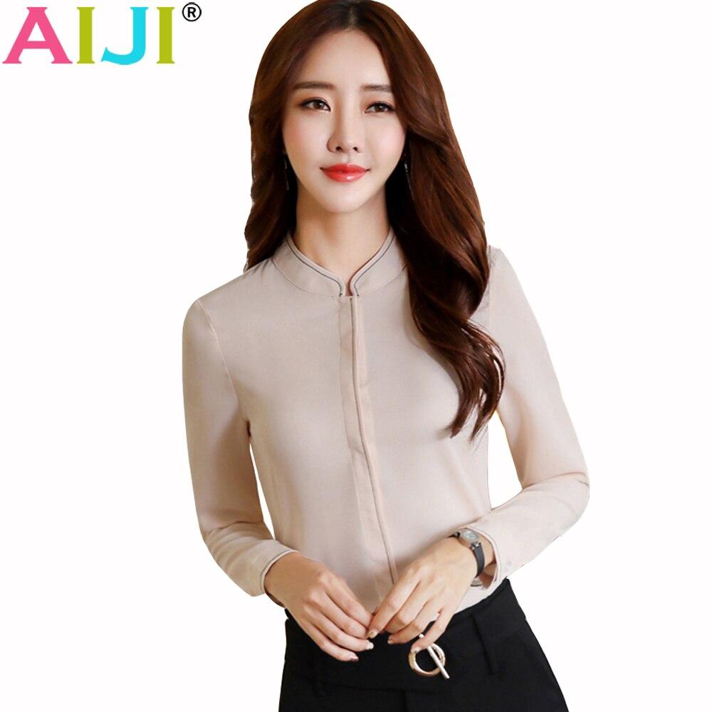 AIJI Summer Elegant Women Long Sleeve Shirt OL Career Stand Collar Chffon Blouse Tops Ladies Office