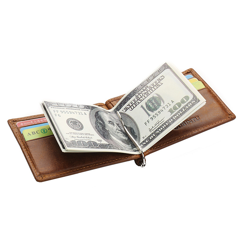 Us 19 98 Cow Leather Id Card Holder Credit Card Holder Slim Wallet For Men Male Business Card Holder Metal Clip Holder Two Folds In Card Id