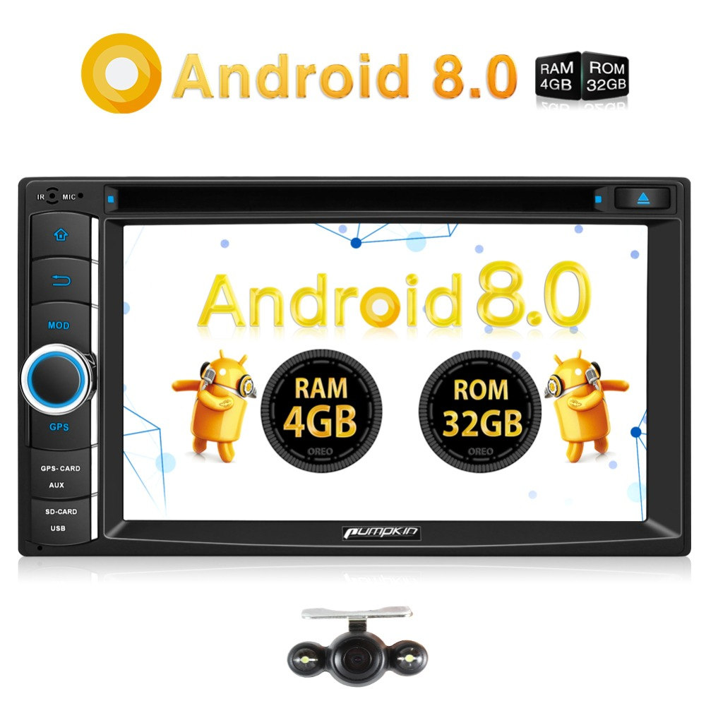 Pumpkin 2 Din Android 8.0 Universal Car DVD Player GPS Navigation Fast Boot Car Stereo Qcta-core FM Rds Radio OBD2 DAB+ Headunit android 8 0 2 din 7 universal car radio no dvd player gps navigation 4gb ram car stereo fm rds wifi 4g dab headunit