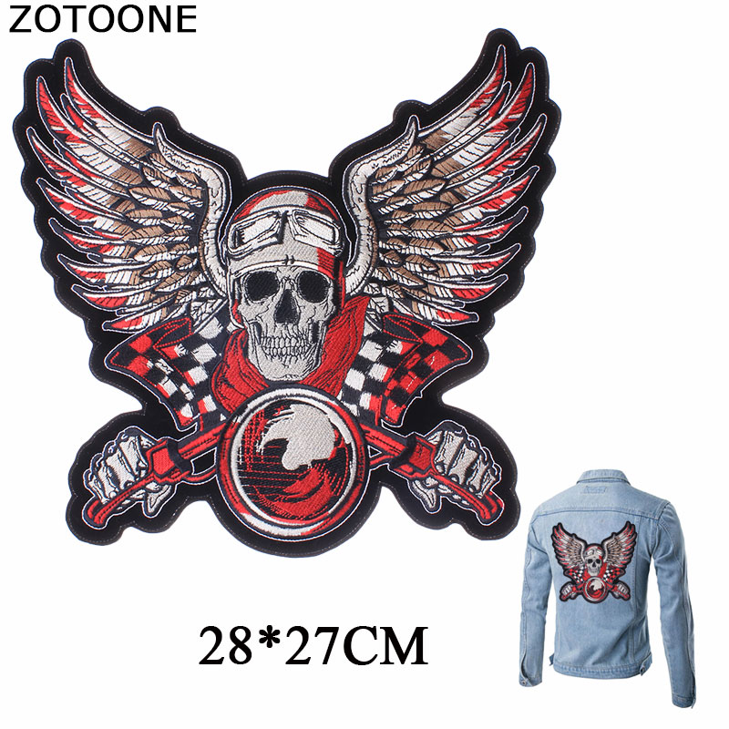 ZOTOONE Red <font><b>Race</b></font> <font><b>Car</b></font> Driver Skull Vest Angles Wings Embroidery <font><b>Patches</b></font> Rider Iron on Back of Jacket <font><b>Patches</b></font> for Clothes Custom E image