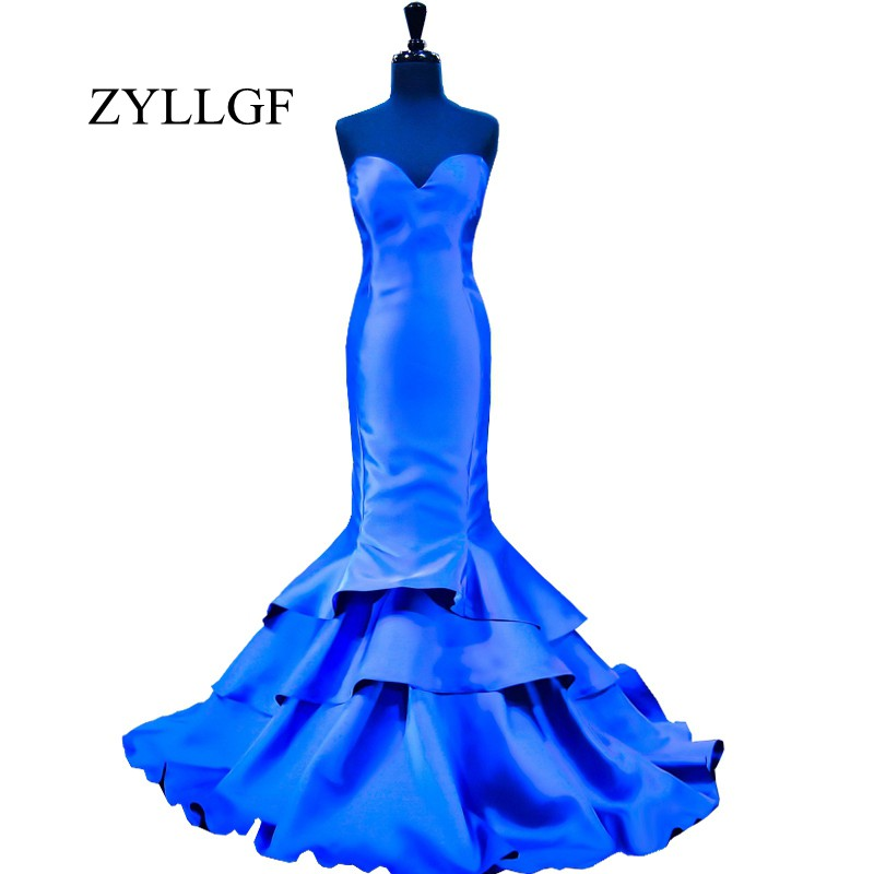 ZYLLGF Royal Blue   Evening     Dress   2019 Mermaid Sweetheart Floor Length Tiered Bottom Women   Evening   Party Gowns RS105