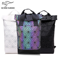 Badenroo Brand Luminous Backpack Women Geometric Backpack For Teenage Girl Plaid Sequin Holographic Diamond Noctilucent Backpack