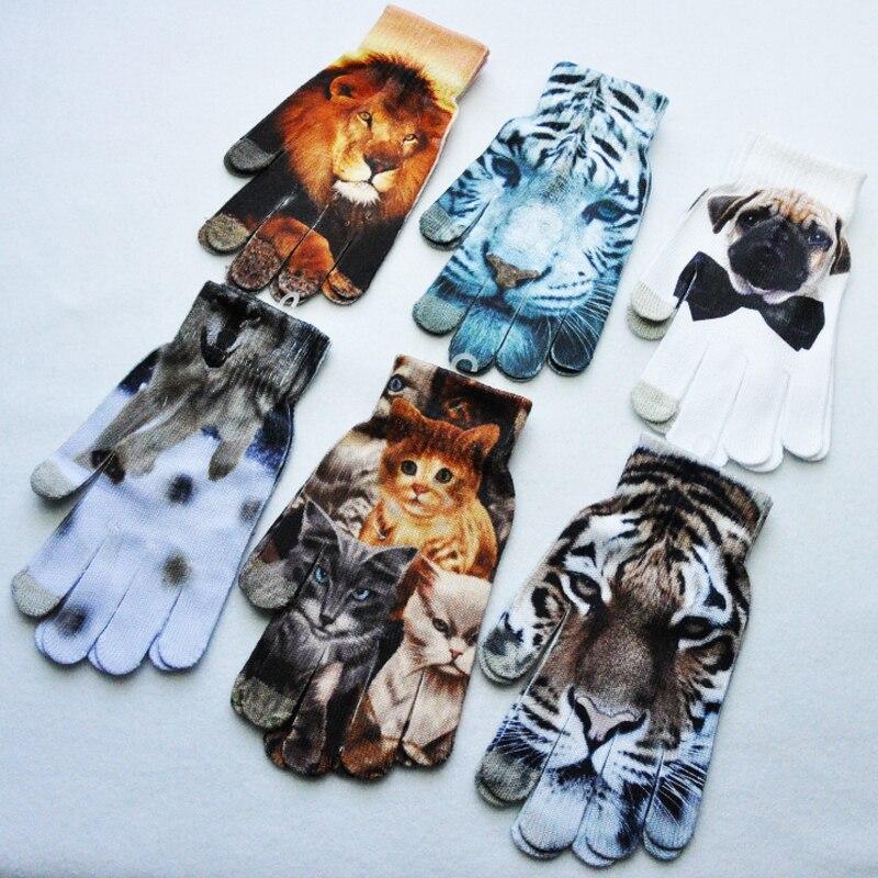 Hot 3D Animal Print Wrist Men Gloves Winter Warm Touch Screen  Gloves Women Female Full Finger Xmas Mitten Gift Accessories