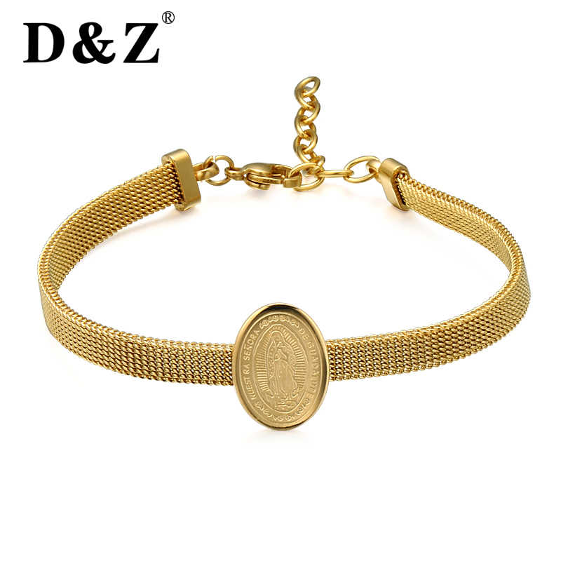 D&Z Religious Virgin Mary Bracelets Bangles Gold Color 316L Stainless Steel Our Lady Charm Jewelry Wristband Friend Gifts