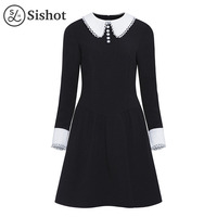 Sishot mujeres vestidos vintage 2017 otoño negro Plain manga larga elegante una línea longitud de la rodilla Peter Pan otoño Retro vestido