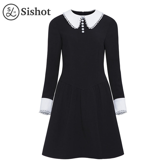 Sishot Women Vintage Dresses 2018 Autumn Black Plain Long Sleeve