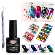 MEET ACROSS Transfer Gel Holographic Nail Foil Set  DIY Sticker Decoration Tips Art Manicure