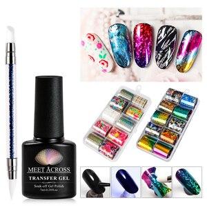 MEET ACROSS Transfer Gel Holographic Nail Foil Set  DIY Nail Sticker Decoration Tips Nail Art Transfer Sticker Manicure Set