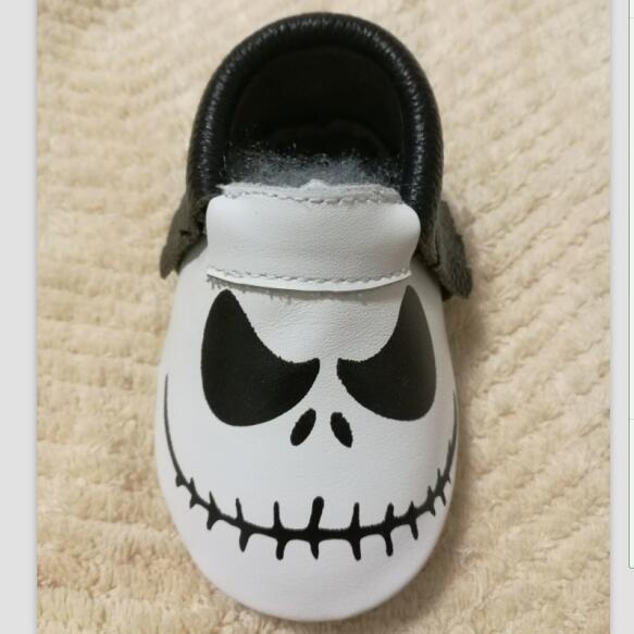 Nuevo Estilo de Bebé de Cuero Genuino Mocasines Zapatos de Halloween regalos para bebe Zapatos de Bebé Recién Nacido primer caminante Zapatos del niño