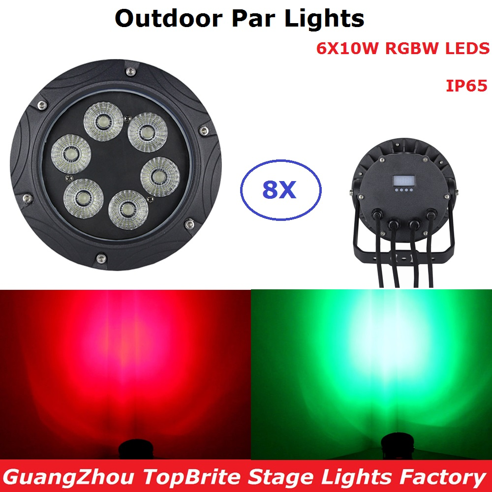 8 Units Outdoor Par Lights Hi- Quality 6X10W RGBW 4 Colors LED Flat Par Light DJ Wash Li ...