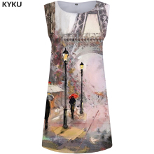 KYKU Eiffel Tower Dress Women City Retro France Painting 3d Print Sundress Sexy Womens Clothing Casual Ladies Dresses New