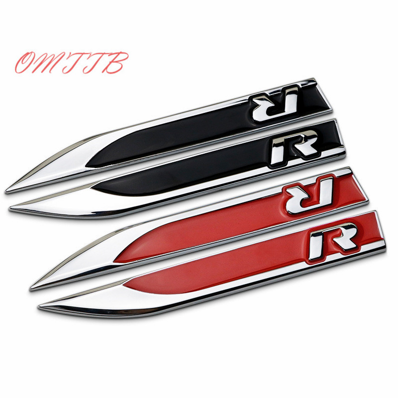1 pair Metal 3D Side Wing Fender Badge Emblem R decoration logo for VW Volkswagen Golf 7 MK6 JETTA POLO tiguan car styling