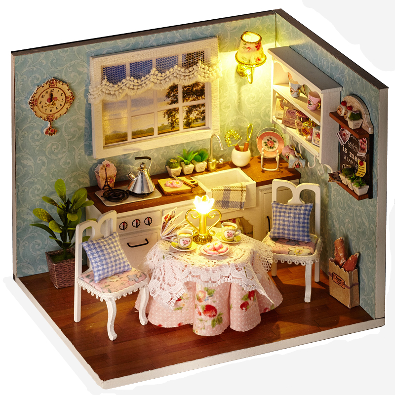 Elegant DIY Model Miniature Dollhouse With Furnitures LED 3D Wooden House Toys Handmade Crafts Gifts For Children H008 #D
