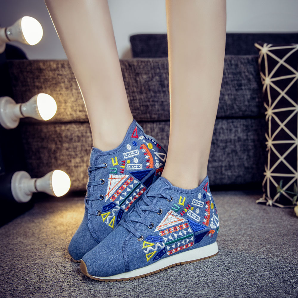 Chinese Style Women Autumn Winter Fashion Casual Lace Up Embroidery Vulcanize Shoes Female Plus Size Cloth Fabric Shoes Smink 10