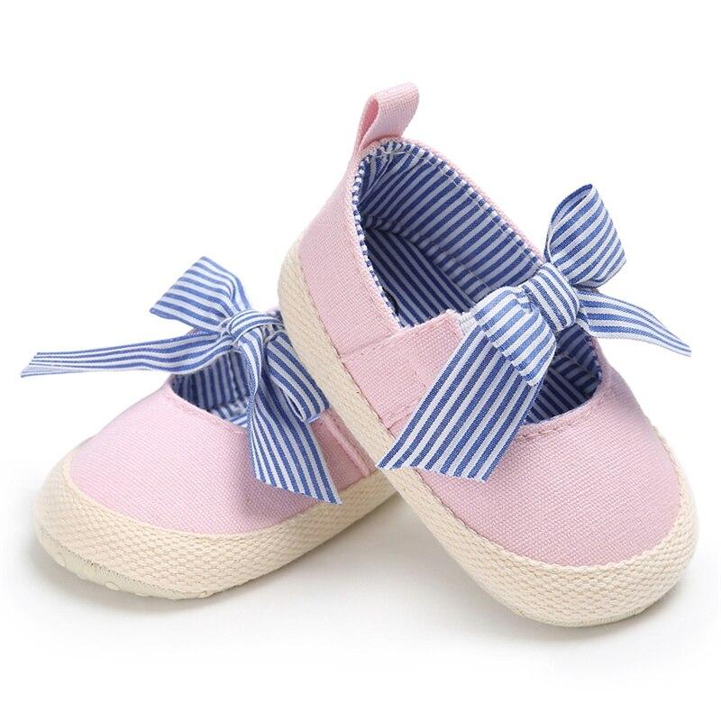 0-18M Newborn Cute Baby Girl Bow Striped Shoes Infant Toddler Prewalker Footwear Baby Anti-sip Shoes Sneakers