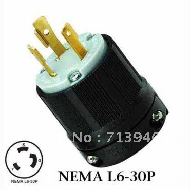WJ 8331 NEMA L6 30P Twist Lock Wiring Plug 30A 250VAC 3Wire Locking