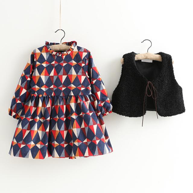 Girls Kids Clothes Spring Diamond Plaid Thick Children Clothing Fashion Lamb's Wool Fur Vest + Girls Dress Clothing Sets