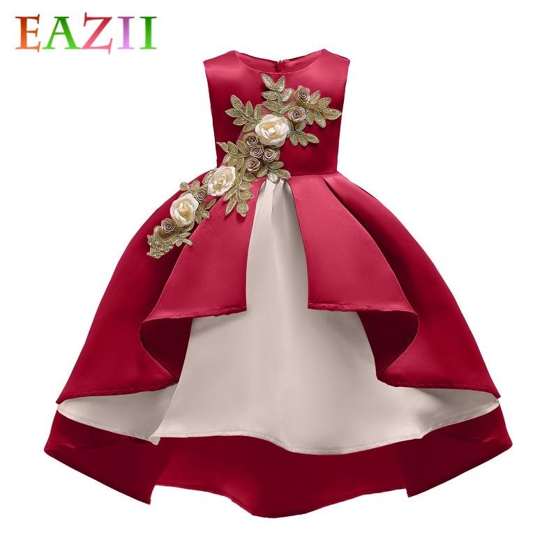 EAZII Children Luxury Party Formal Dress For Wedding Birthday Kids Ceremonies Dresses For Girls Applique Tutu Flower Girls Dress