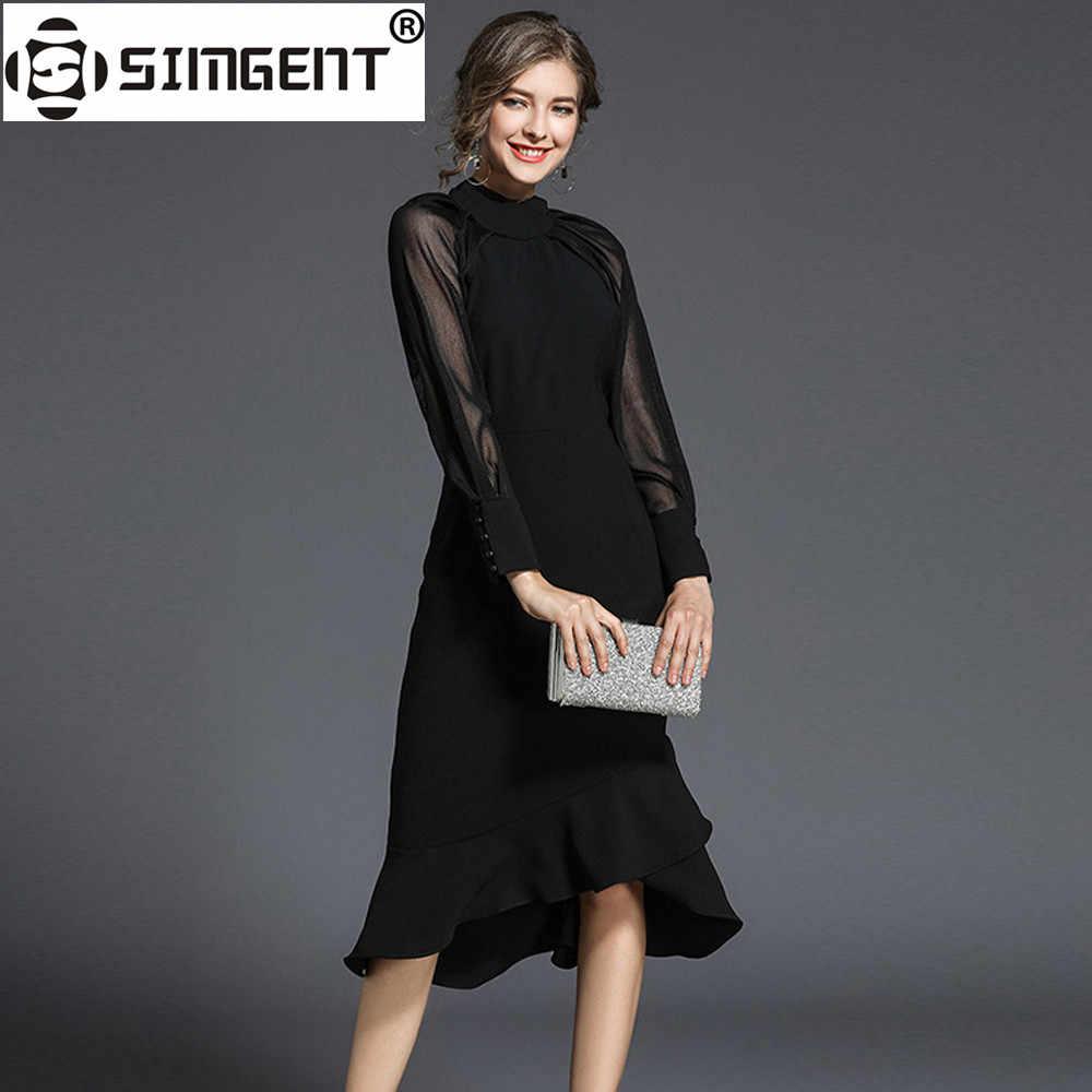 Simgent femmes robe de soirée Raglan manches bouton col montant élégant bureau moulante robe de sirène Jurken femme vêtements SG712214