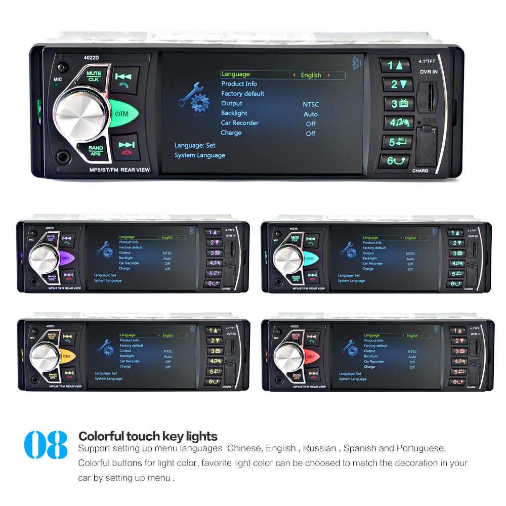 Radio samochodowe MP5 samochód odtwarzacz MP3 MP4 samochód USB 4.1 ''HD TFT 12V samochodowe stereo kamera na zewnątrz FM/SD/Folder Play/AUX bluetooth