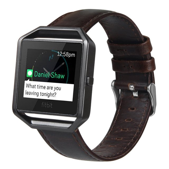 V-MORO Genuine Leather Fitbit Blaze Replacement Band + Meatal Frame House Wrsit Band for Fitbit Blaze Band Brown Coffee