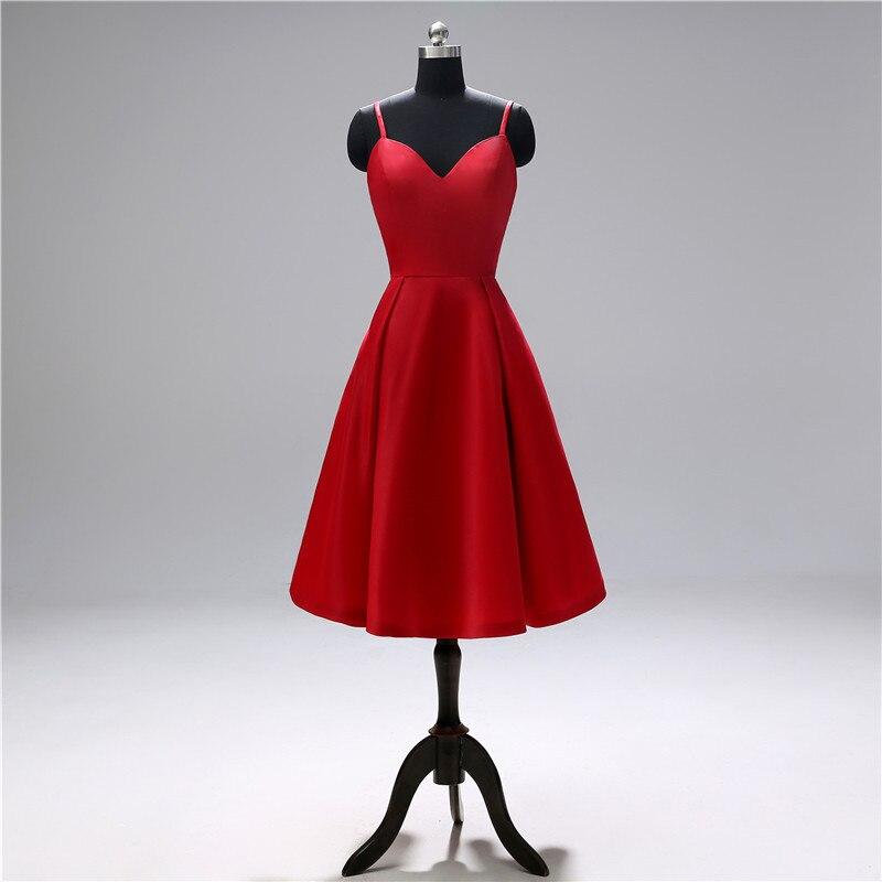 Red   Cocktail     Dress   For Women spaghetti sweetheart satin   cocktail     dress   knee-length sexy short party   dresses   vestidos de fiesta