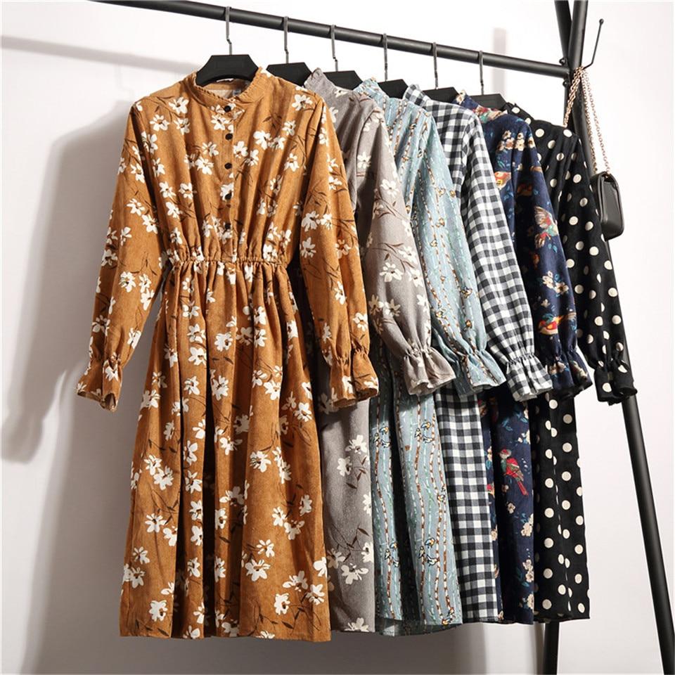 2019 Autumn Winter Women Corduroy Dresses Casual Long Sleeve High Elastic Waist Flower Print Party Dress