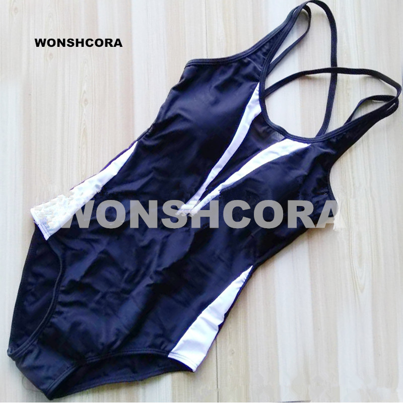 2017 wonshcora Одна деталь купальник черный, белый цвет лоскутное чистая Пряжа пикантные Для женщин комплект бикини Тонкий Купальники для малышек