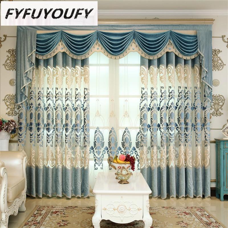 Europa hochwertige bestickte Vorhangstoffe mit luxuriösen Polyester Baumwolltuch Blumen für das Wohnzimmer und Schlafzimmer