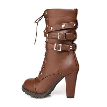 TAOFFEN Ladies shoes Women boots High heels Platform Buckle Zipper Rivets Sapatos femininos Lace up Leather boots Size 34-48 2