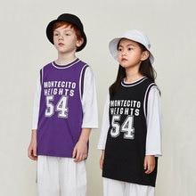 Spring New Kid Long Sleeve Shirt Hip Hop Boy 54th Fake Two-piece Long-sleeved T-shirt Tide Brand Boy Loose Basketball Clothes цены