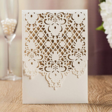 WISHMADE Ivory Laser Cut Invites Cards with Floral Vertical Wedding Invitations for Birthday Engagement Bridal Shower 100pcs/lot