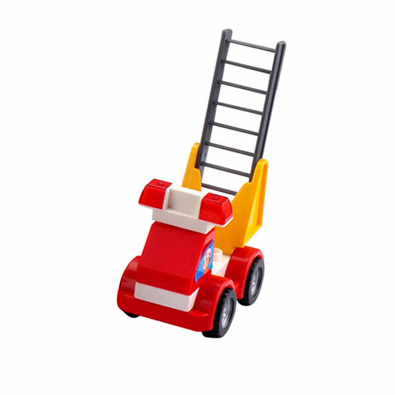 Ukuran Besar DIY Lalu Lintas Kota Blok Bangunan Truk Pemadam Kebakaran Crane Forklift Mobil Bata Kompatibel dengan Duploed Mainan untuk Anak-anak hadiah