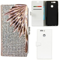Bamboo Leaf 3D DIY Bling Rhinestone PU Leather Magnetic Flip Stand Wallet Phone Case Cover For