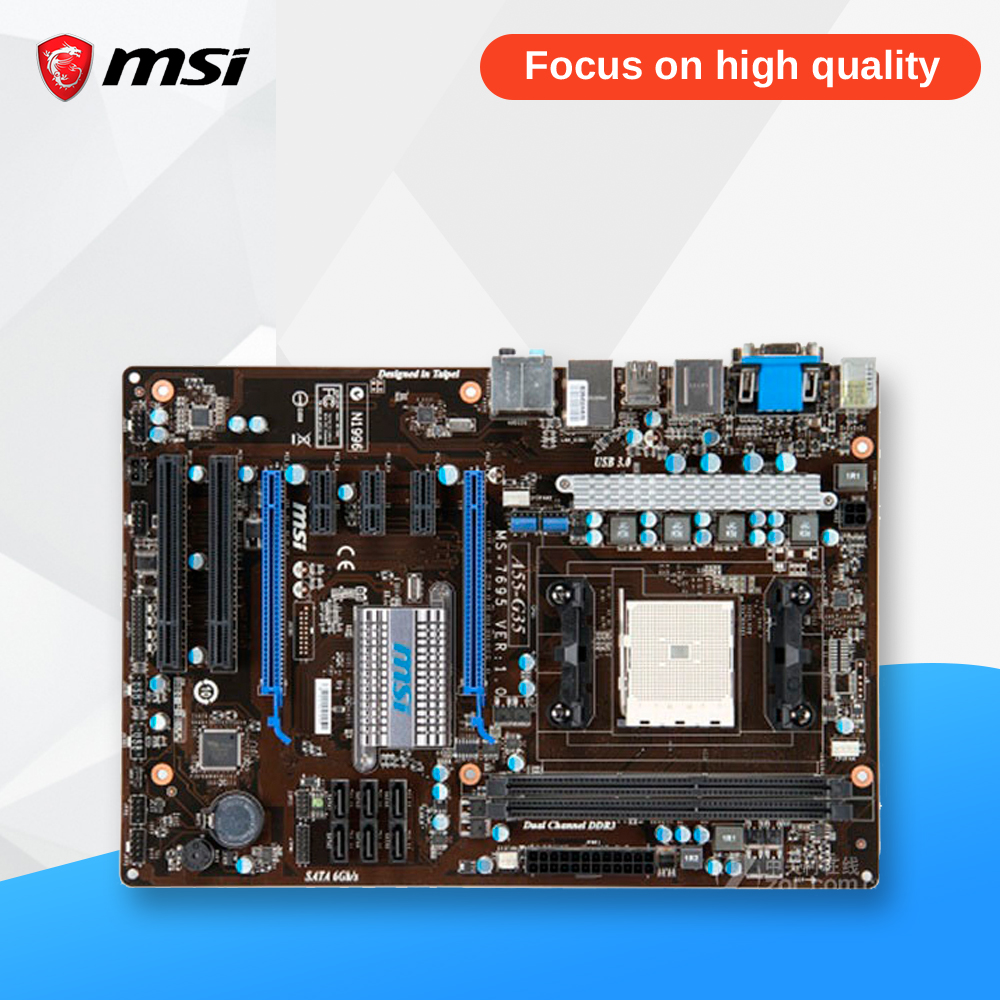 MSI A55-G35 Original Used Desktop Motherboard A55 Socket FM1 DDR3 SATA2 USB2.0 ATX msi p41 c31 original used desktop motherboard p41 socket lga 775 ddr3 4g sata2 usb2 0 atx