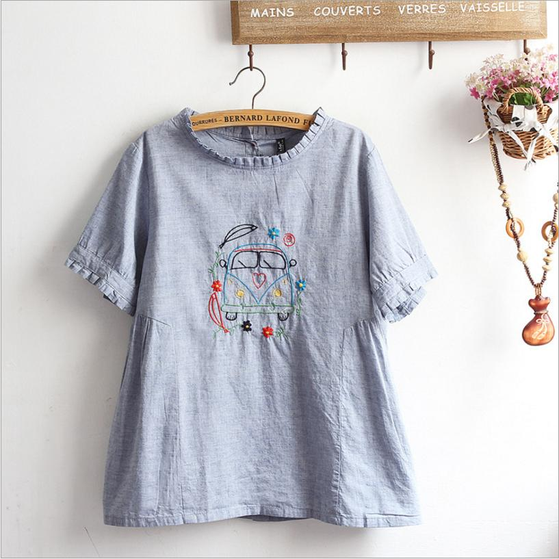 Japanese mori girl womens 2018 summer new Embroidered pleated sweet fresh blouses shirt female cotton and linen cute shirt L453