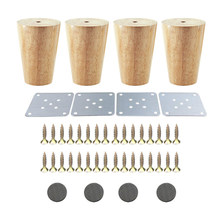 4PCS 58x80x38mm Oak Furniture Legs Wooden Furniture Feet Cabinet Table Feet Sofa Legs with Iron Pads Gaskets Screws(China)