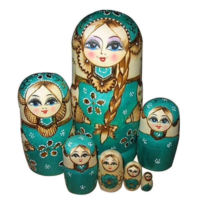 7 Pcs/lot Beautiful Doll Wooden Matryoshka Doll Kids Gift Russian Nesting Dolls Baby Toy Girl Doll High Quality Toys & Hobbies original winx club bloom musa beautiful girl magiche fan doll collection toys