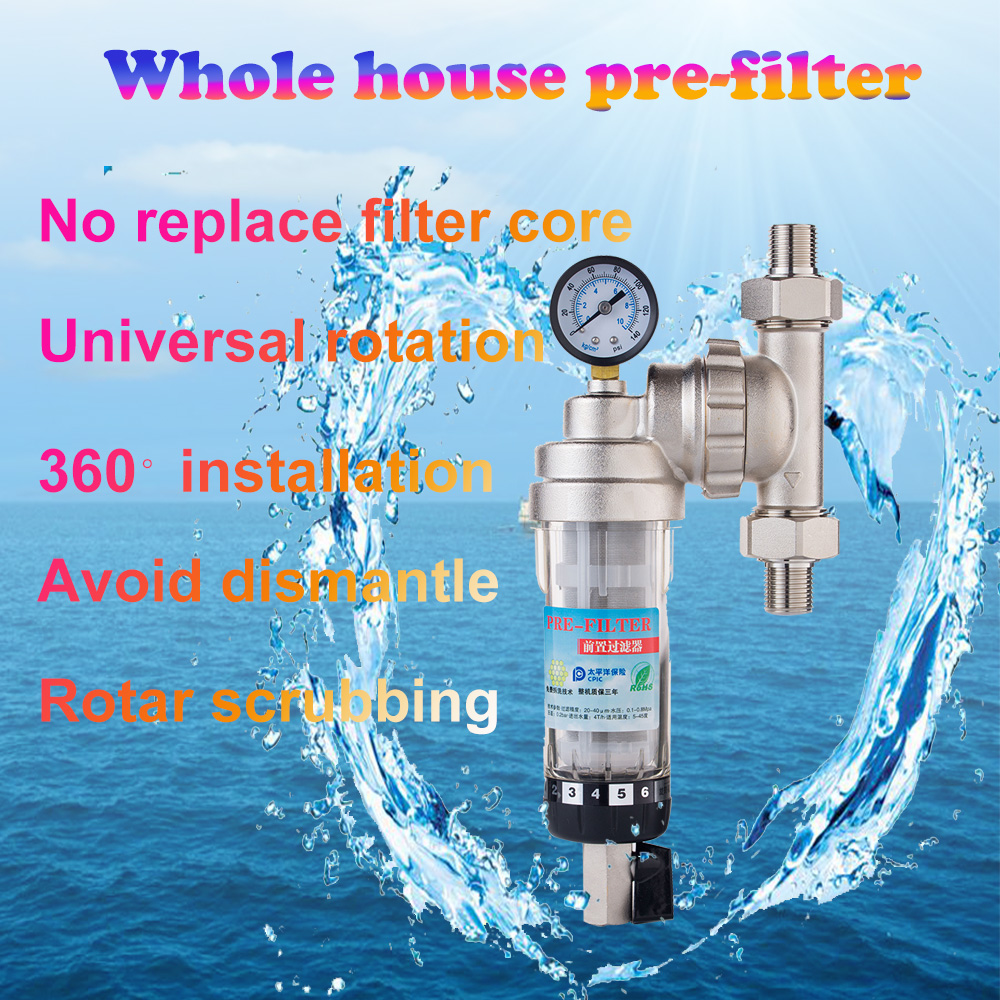 "Image 2 - 3/4"" Union water Purifier Pre filter backwash universal installation prefilter brass nickel plated remove rust free shipping-in Water Filters from Home Appliances"