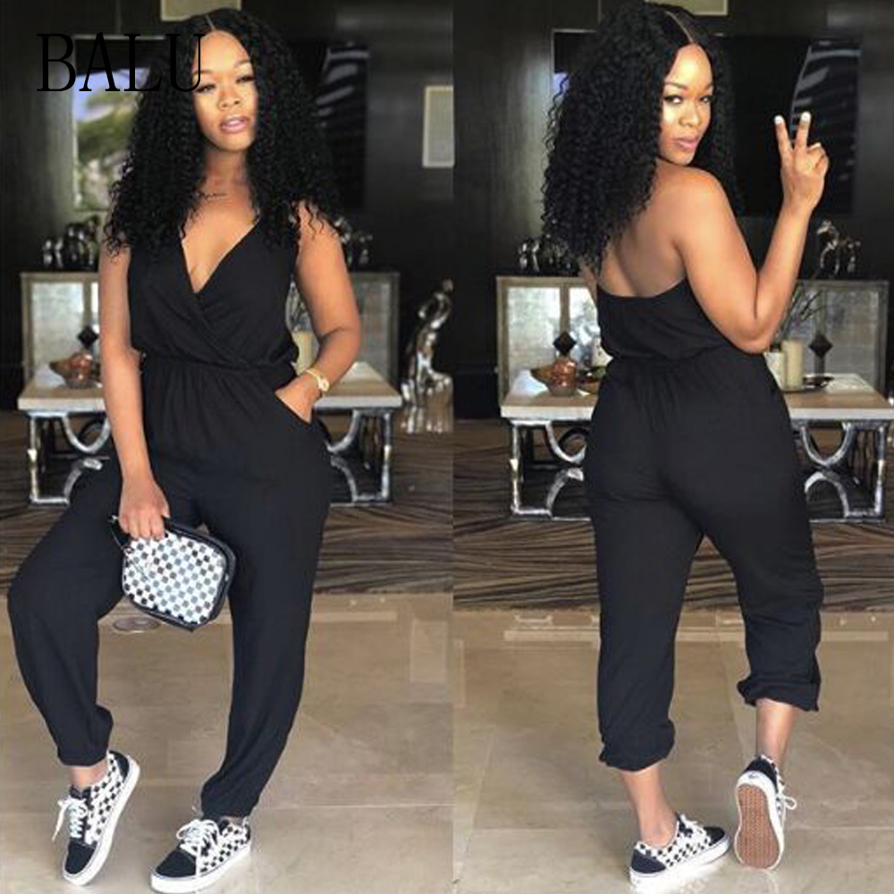 BALU Summer Jumpsuit V Neck Backless Halter Women Jumpsuit Rompers Sleeveless Party Club Sexy Black Jumpsuits Long Pant Overalls