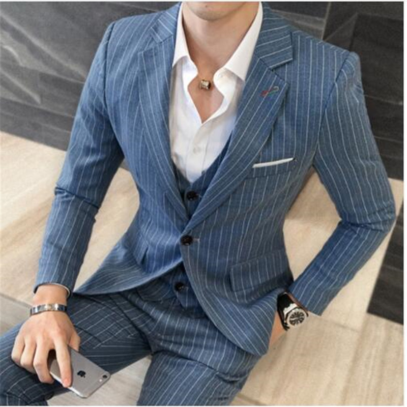 ( Jackets + Vest + Pants ) 2019 New Men's Fashion Boutique Striped Business Casual Suit Three-piece Groom Wedding Dress Suit Men