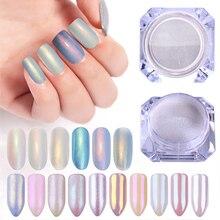 1 Doos Pearl Nail Poeder Glitter Shimmer Stralende Art Pailletten Chrome Dust Pigment Licht Kleur Nail Decoratie