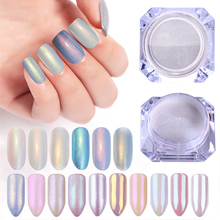 1 caja de polvo de perlas para uñas, brillantes, lentejuelas, pigmento de polvo cromado, decoración de uñas de Color claro