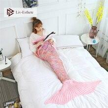 Liv-Esthete Fashion Pink Mermaid Throw Blanket Knitted Handmade Blanket Super Sofa Best Gift For Adult Kids Child Blanket