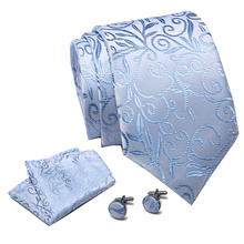 New Fashion Blue Floral Ties Novelty Printed Necktie Hanky Cufflinks Set High Quality Silk on Sale dropping shipping