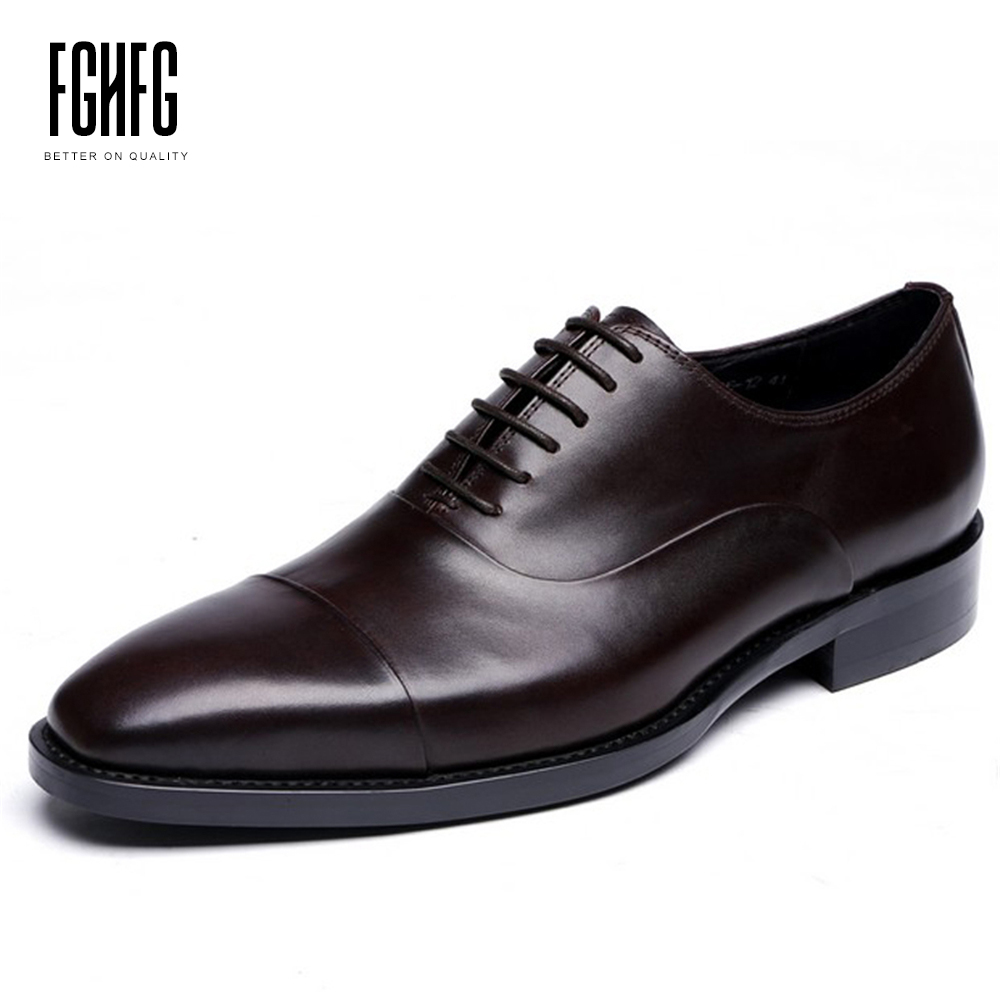 Men's Genuine Leather Shoes Cowhide Leather Pig Inner Small Squar Toe Oxfords Wedding Business Dress Shoes 2018 New Lace-up classic men s genuine leather shoes cowhide leather pig inner pointed toe derby dress wedding business shoes 2018 fashion