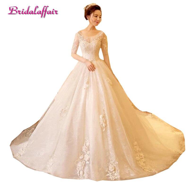 New Latest Lace Ball Gown Wedding Dresses 2018 Elegant Appliques Beading Half Sleeve Vestido De Noiva