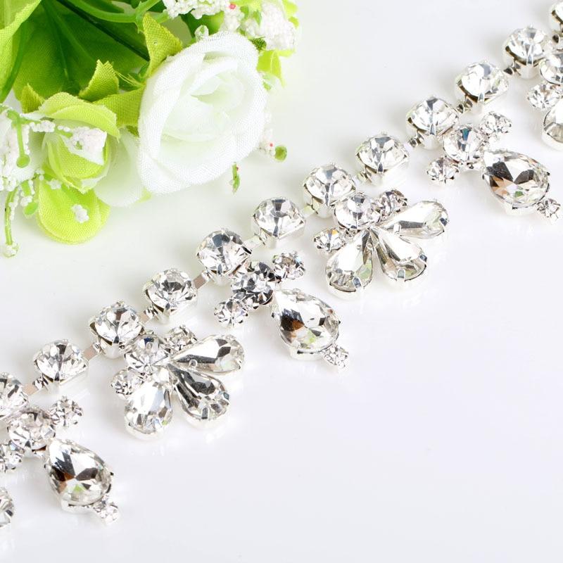 New Arrival Sew On Flower Crystal Rhinestone Chain Ts Embellishment For Bridal Wedding Dress Diy Hair
