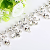 new arrival sew on flower crystal rhinestone chain trimmings embellishment for bridal wedding dress diy hair decoration
